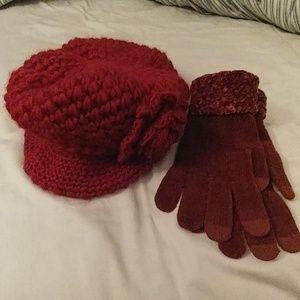Accessories - Burgundy hat & glove set.